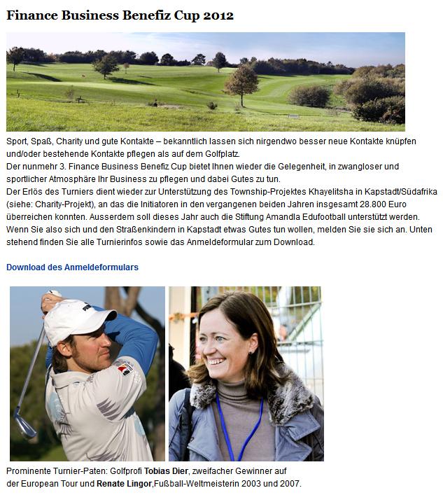 Golfmeisterschaft Finance Business - Benefiz Cup 2012